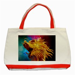 Broncefigur Golden Dragon Classic Tote Bag (red) by Nexatart