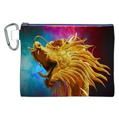 Broncefigur Golden Dragon Canvas Cosmetic Bag (xxl) by Nexatart