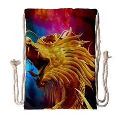 Broncefigur Golden Dragon Drawstring Bag (large)