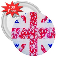 British Flag Abstract 3  Buttons (100 Pack)