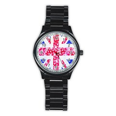 British Flag Abstract Stainless Steel Round Watch