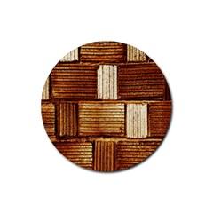 Brown Wall Tile Design Texture Pattern Rubber Coaster (round)  by Nexatart