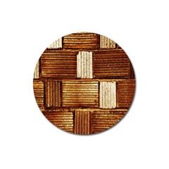 Brown Wall Tile Design Texture Pattern Magnet 3  (round) by Nexatart
