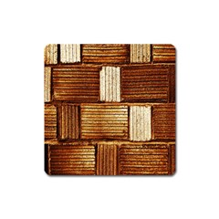 Brown Wall Tile Design Texture Pattern Square Magnet by Nexatart