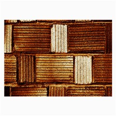 Brown Wall Tile Design Texture Pattern Large Glasses Cloth (2 Side)