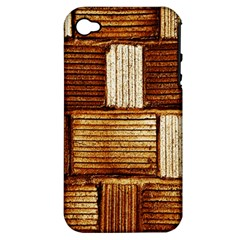 Brown Wall Tile Design Texture Pattern Apple Iphone 4/4s Hardshell Case (pc+silicone)