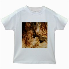 Brown Beige Abstract Painting Kids White T Shirts