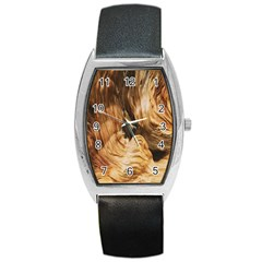 Brown Beige Abstract Painting Barrel Style Metal Watch by Nexatart