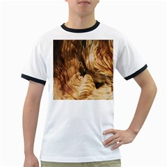 Brown Beige Abstract Painting Ringer T Shirts by Nexatart