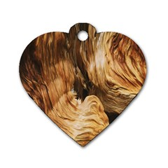 Brown Beige Abstract Painting Dog Tag Heart (two Sides)