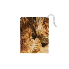 Brown Beige Abstract Painting Drawstring Pouches (xs)  by Nexatart