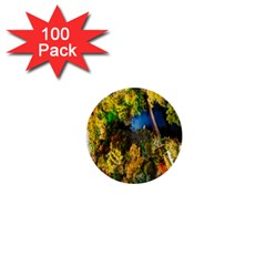 Bridge River Forest Trees Autumn 1  Mini Buttons (100 Pack)