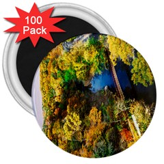 Bridge River Forest Trees Autumn 3  Magnets (100 Pack)