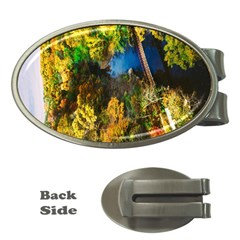 Bridge River Forest Trees Autumn Money Clips (oval)  by Nexatart
