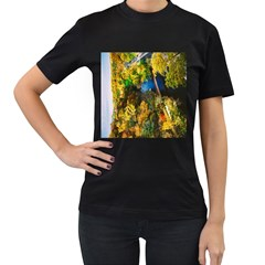 Bridge River Forest Trees Autumn Women s T Shirt (black) (two Sided)