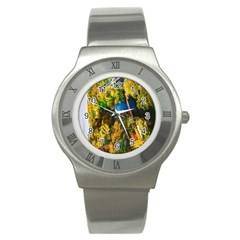 Bridge River Forest Trees Autumn Stainless Steel Watch by Nexatart