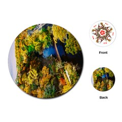 Bridge River Forest Trees Autumn Playing Cards (round)  by Nexatart