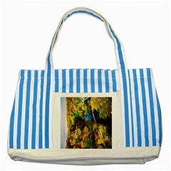 Bridge River Forest Trees Autumn Striped Blue Tote Bag