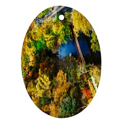 Bridge River Forest Trees Autumn Oval Ornament (two Sides)