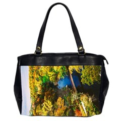 Bridge River Forest Trees Autumn Office Handbags (2 Sides)  by Nexatart