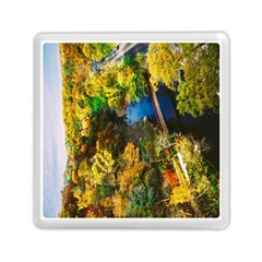 Bridge River Forest Trees Autumn Memory Card Reader (square)  by Nexatart