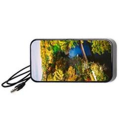 Bridge River Forest Trees Autumn Portable Speaker (black) by Nexatart