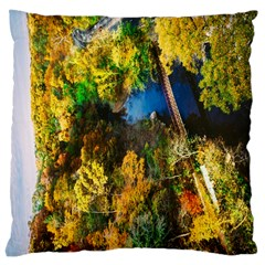 Bridge River Forest Trees Autumn Large Cushion Case (one Side) by Nexatart