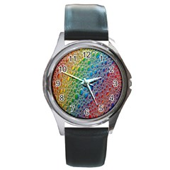 Bubbles Rainbow Colourful Colors Round Metal Watch by Nexatart