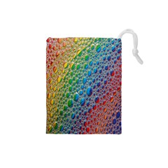 Bubbles Rainbow Colourful Colors Drawstring Pouches (small)  by Nexatart