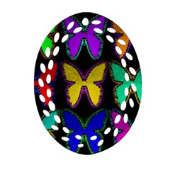 Butterflies Pattern Oval Filigree Ornament (two Sides)