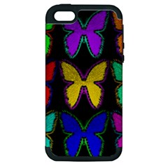 Butterflies Pattern Apple Iphone 5 Hardshell Case (pc+silicone)