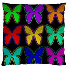 Butterflies Pattern Large Flano Cushion Case (two Sides) by Nexatart