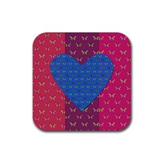 Butterfly Heart Pattern Rubber Square Coaster (4 Pack)