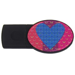 Butterfly Heart Pattern Usb Flash Drive Oval (4 Gb) by Nexatart