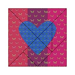 Butterfly Heart Pattern Acrylic Tangram Puzzle (6  X 6 ) by Nexatart