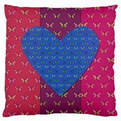 Butterfly Heart Pattern Large Cushion Case (one Side)