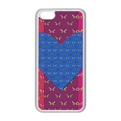 Butterfly Heart Pattern Apple Iphone 5c Seamless Case (white)