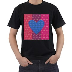 Butterfly Heart Pattern Men s T Shirt (black) by Nexatart
