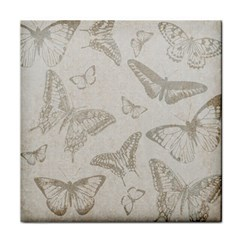 Butterfly Background Vintage Tile Coasters