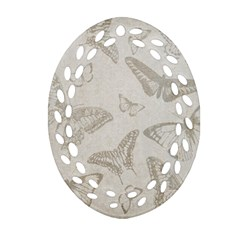 Butterfly Background Vintage Ornament (oval Filigree)