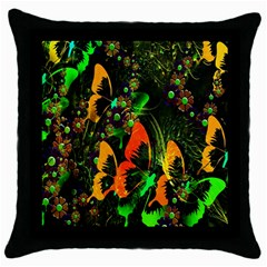 Butterfly Abstract Flowers Throw Pillow Case (black)