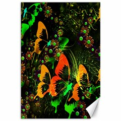 Butterfly Abstract Flowers Canvas 12  X 18
