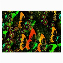 Butterfly Abstract Flowers Large Glasses Cloth