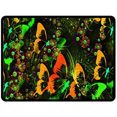 Butterfly Abstract Flowers Fleece Blanket (large)