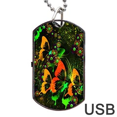 Butterfly Abstract Flowers Dog Tag USB Flash (One Side) by Nexatart