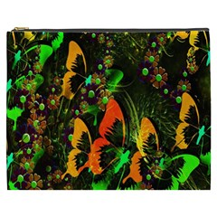 Butterfly Abstract Flowers Cosmetic Bag (xxxl)