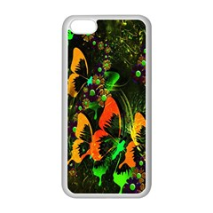 Butterfly Abstract Flowers Apple Iphone 5c Seamless Case (white)