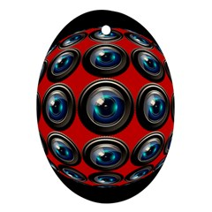 Camera Monitoring Security Oval Ornament (two Sides) by Nexatart