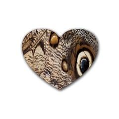 Butterfly Wing Detail Rubber Coaster (heart)  by Nexatart