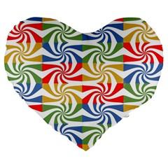 Candy Pattern  Large 19  Premium Heart Shape Cushions by Nexatart